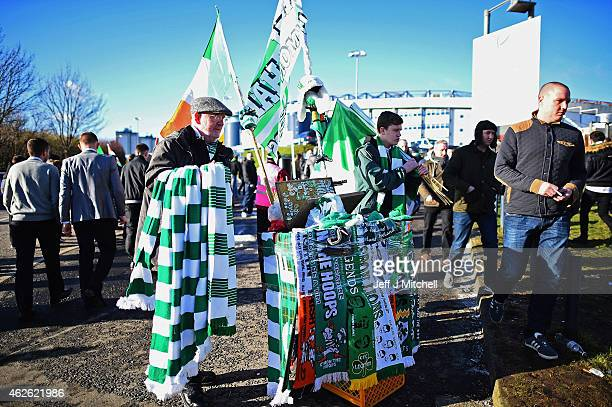 Celtic fans arrive at Hampden Park ahead of the League Cup semi final match between Celtic and Rangers on February 1 2105 in Glasgow Scotland One of...