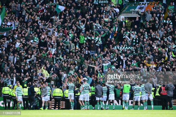 Celtic fans celebrate at the final whistle as Celtic beat Rangers 21 during the Ladbrokes Scottish Premiership match at Celtic Park on March 31 2019...