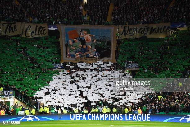 Celtic fans display their support during the UEFA Champions League Group B match between Celtic and Paris Saint Germain at Celtic Park on September...
