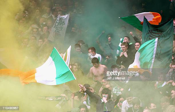 Celtic fans during the Cooperative Insurance Cup Final between Celtic and Rangers at Hampden Park on March 20 2011 in Glasgow Scotland