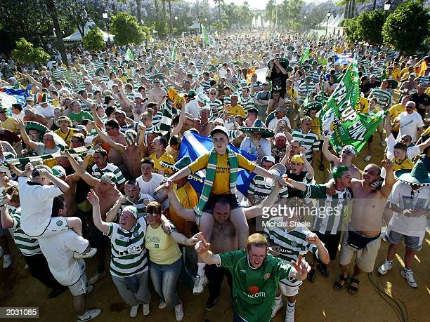 Celtic fans during the UEFA Cup Final match between Celtic and FC Porto held on May 21 2003 at the Estadio Olimpico in Seville Spain FC Porto won the...