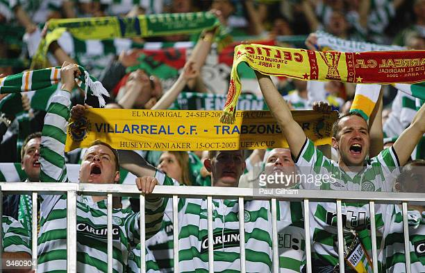 Celtic fans during the UEFA Cup Quarter Final Second Leg match between Villarreal and Celtic held on April 14 2004 at the El Madrigal Stadium in...