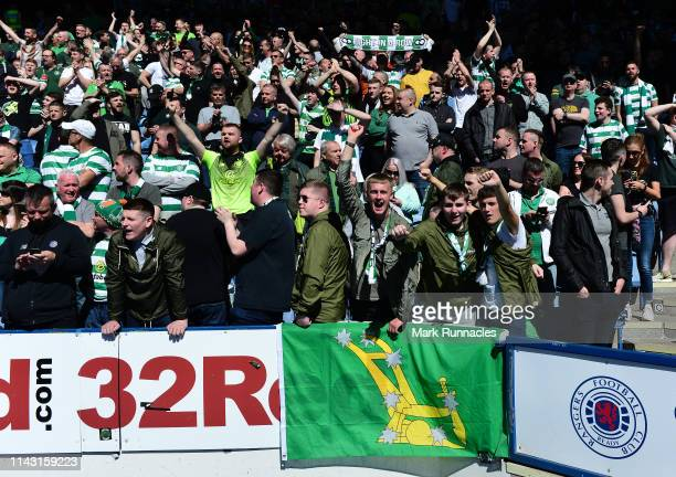 Celtic fans enjoying the sunny weather at Ibrox Stadium ahead of the Ladbrokes Scottish Premiership match between Rangers and Celtic at Ibrox Stadium...