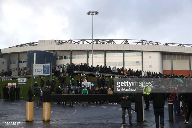 Celtic fans gather outside the stadium prior to the William Hill Scottish Cup final match between Celtic and Heart of Midlothian at Hampden Park...