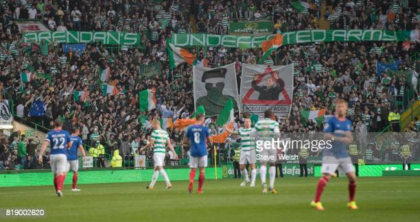 Celtic Fans inside Parkhead during the UEFA Champions League Qualifying Second RoundSecond Leg match between Celtic and Linfield at Celtic Park...