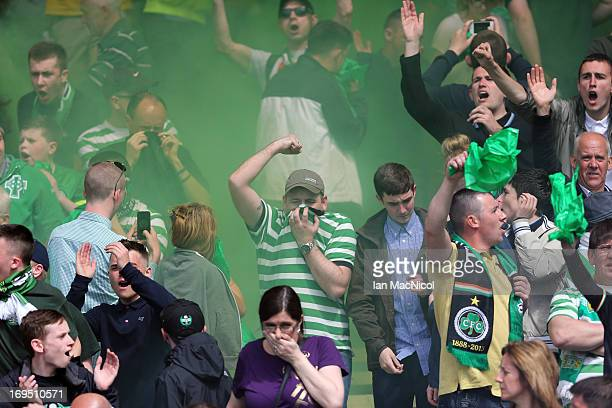 Celtic fans let off flares during the William Hill Scottish Cup Final match between Celtic and Hibernian at Hampden Stadium on May 26 2013 in Glasgow...