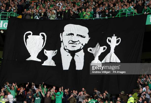 Celtic fans observe a moments applause for the late Jock Stein during the Clydesdale Bank Scottish Premier League match at Celtic Park Glasgow