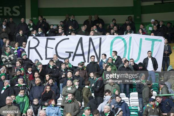 Celtic fan's protest against the SFA's Stewart Regan during the Scottish Cup Fifth Round match at Celtic Park Glasgow