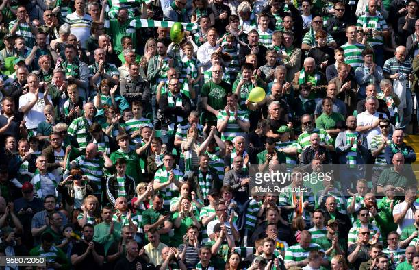 Celtic fans react as Celtic win the Ladbrokes Scottish Premier League during the Scottish Premier League match between Celtic and Aberdeen at Celtic...