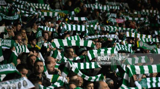 Celtic fans show their support during the UEFA Champions League group B match between Celtic FC and Bayern Muenchen at Celtic Park on October 31 2017...