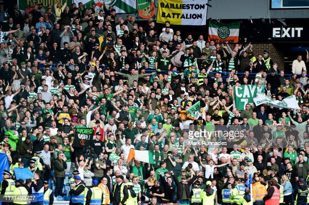 Celtic fans show their support prior to the Ladbrokes Premiership match between Rangers and Celtic at Ibrox Stadium on September 01 2019 in Glasgow...