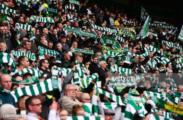 Celtic fans show their support prior to the Ladbrokes Scottish Premiership match between Celtic and Hearts at Celtic Park on May 19 2019 in Glasgow...