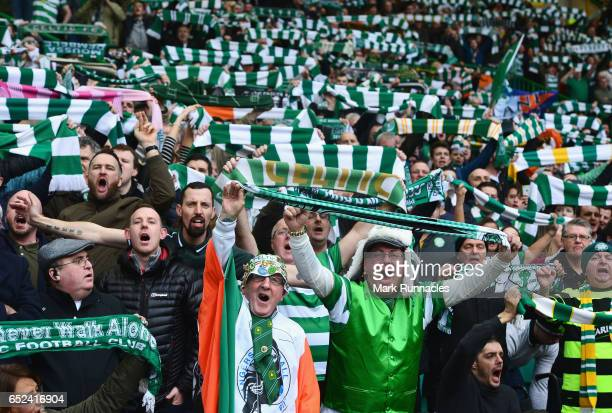 Celtic fans show their surport for their team during the Ladbrokes Scottish Premiership match between Celtic and Rangers at Celtic Park on March 12...