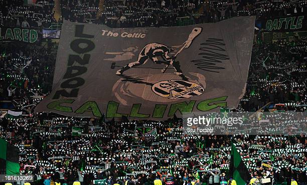 Celtic fans unveil their banner before the UEFA Champions League Round of 16 first leg match between Celtic and Juventus at Celtic Park Stadium on...