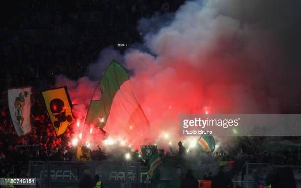 Celtic FC fans light flares during the UEFA Europa League group E match between SS Lazio and Celtic FC at Stadio Olimpico on November 7 2019 in Rome...