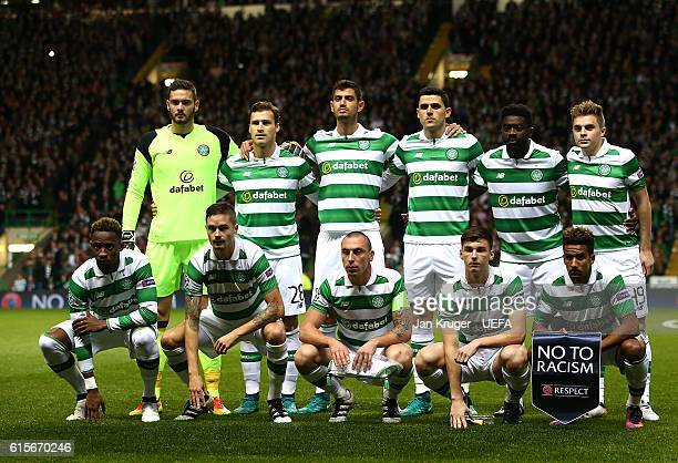 Celtic FC players pose for a team picture with the 'No to Racism' pennant during the UEFA Champions League match between Celtic FC and VfL Borussia...