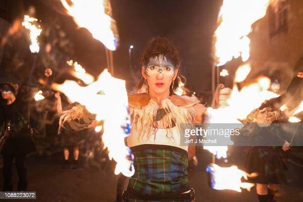 Celtic Fire Theatre company PyroCeltica lead the torchlight procession down the Royal Mile for the start of the Hogmanay celebrations on December 30...