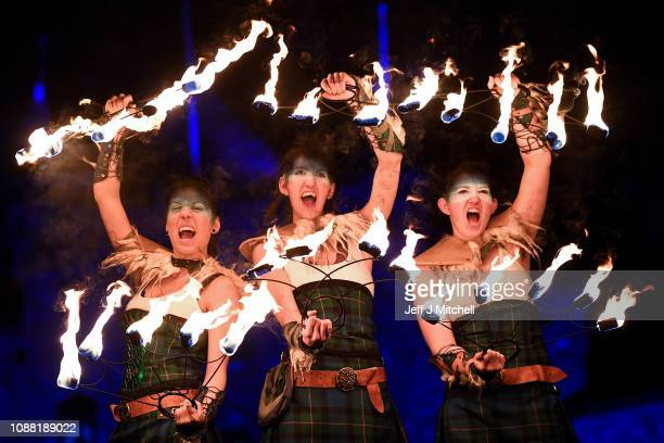 Celtic Fire Theatre company PyroCeltica perform ahead of the torchlight procession on the Royal Mile for the start of the Hogmanay celebrations on...