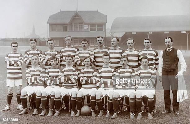 Celtic Football Club team group 19071908 season September 1907 Left to Right Back Row D Hamilton R Templeton W Loney J Young D McLeod D Adams P...