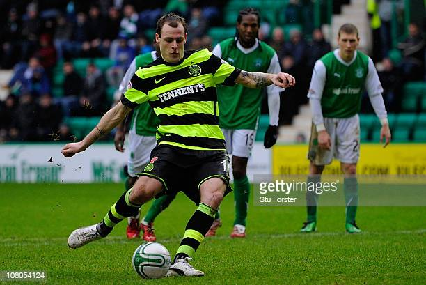 Celtic forward Anthony Stokes scores from the penalty spot for the second Celtic goal during the Clydesdale Bank Premier League match between...