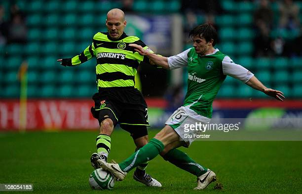 Celtic forward Fredrik Ljungberg is challenged by Lewis Stevenson during the Clydesdale Bank Premier League match between Hibernian and Celtic at...