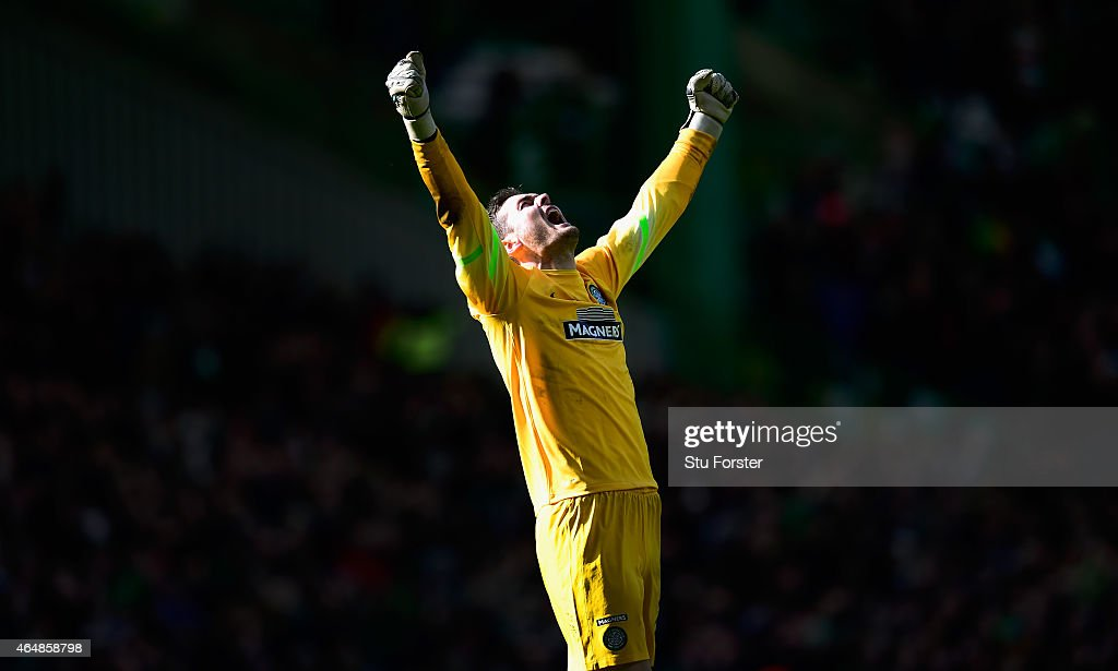 Celtic goalkeeper Craig Gordon celebrates the third Celtic goal during the Scottish Premiership match between Celtic and Aberdeen at Celtic Park Stadium on March 1, 2015 in Glasgow, Scotland.