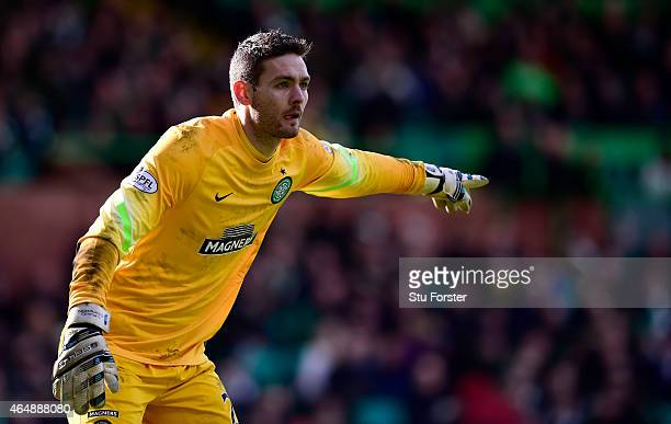 Celtic goalkeeper Craig Gordon in action during the Scottish Premiership match between Celtic and Aberdeen at Celtic Park Stadium on March 1 2015 in...