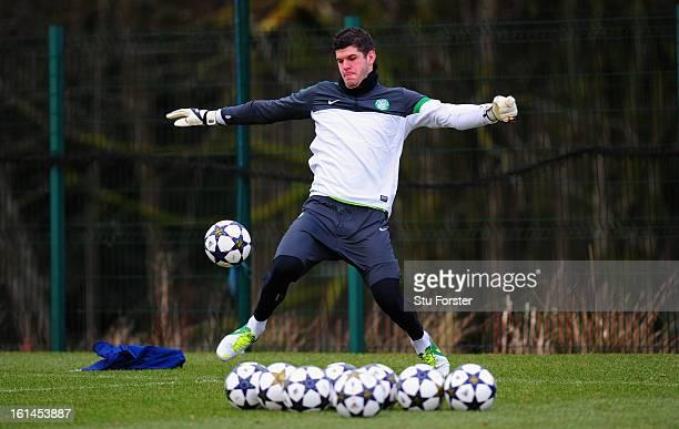 Celtic goalkeeper Fraser Forster in action during Celtic training at Lennoxtown on February 11 2013 in Glasgow Scotland