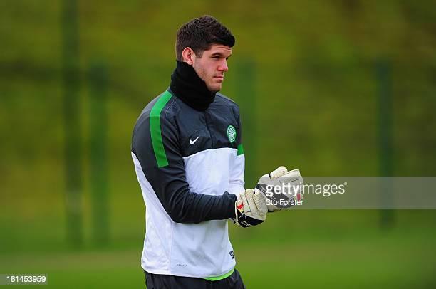 Celtic goalkeeper Fraser Forster looks on during Celtic training at Lennoxtown on February 11 2013 in Glasgow Scotland