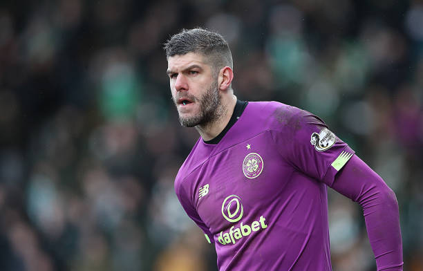 Celtic goalkeeper Fraser Forster looks on during the Scottish Cup Quarter final match between St Johnstone and Celtic at McDiarmid Park on March 01...