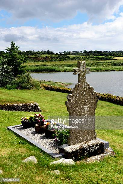 celtic headstone at cemetery near wellingtonbridge of wexford county in ireand - crosses with flowers stock pictures, royalty-free photos & images