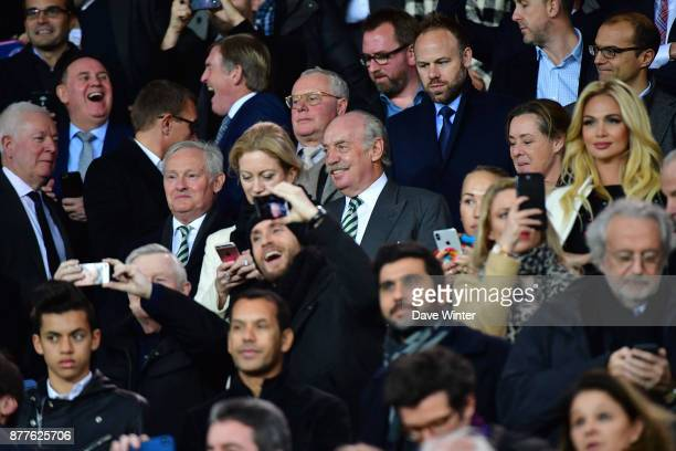 Celtic majority shareholder Dermot Desmond with Celtic chairman Ian Bankier to his right during the UEFA Champions League match between Paris Saint...