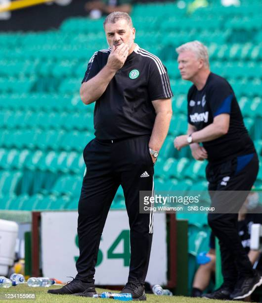 Celtic manager Ange Postecoglou during a friendly match between Celtic and West Ham United at Celtic Park on July 24 in Glasgow, Scotland