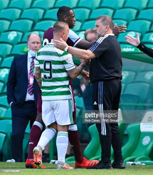 Celtic manager Ange Postecoglou with Leigh Griffiths at full time during a friendly match between Celtic and West Ham United at Celtic Park on July...