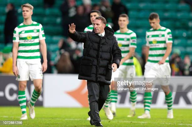 Celtic manager Brendan Rodgers acknowledges the fans after the UEFA Europa League Group B match at Celtic Park Glasgow