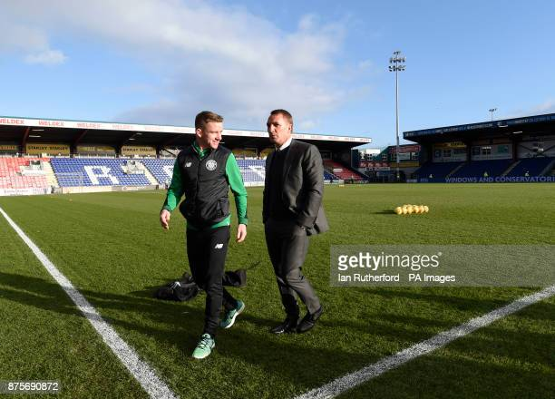 Celtic manager Brendan Rodgers and CelticÕs Jonathan Hayes walk of the pitch side before the Ladbrokes Scottish Premiership match at the Global...