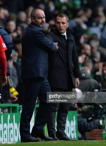 Celtic manager Brendan Rodgers and Kilmarnock manager Steve Clarke shake hands at the final whistle during the Ladbrokes Scottish Premiership match...