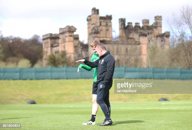 Celtic manager Brendan Rodgers and Stuart Armstrong are seen during a training session at Lennoxtown Training Centre on April 27 2018 in Glasgow...