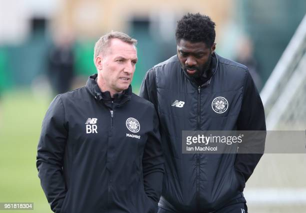Celtic manager Brendan Rodgers and Technical Assistant Kolo Toure during a training session at Lennoxtown Training Centre on April 27 2018 in Glasgow...