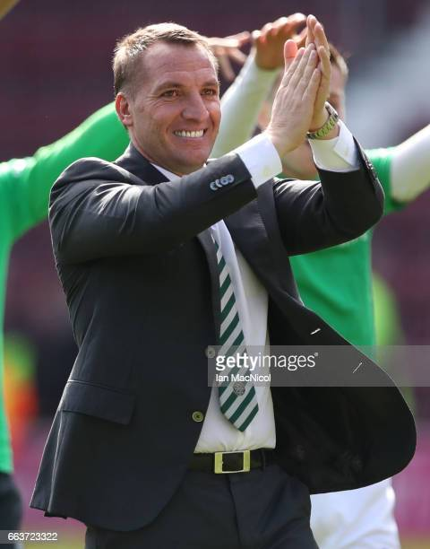 Celtic Manager Brendan Rodgers celebrates at full time during the Ladbrokes Premiership match between Hearts and Celtic at Tynecastle Stadium on...