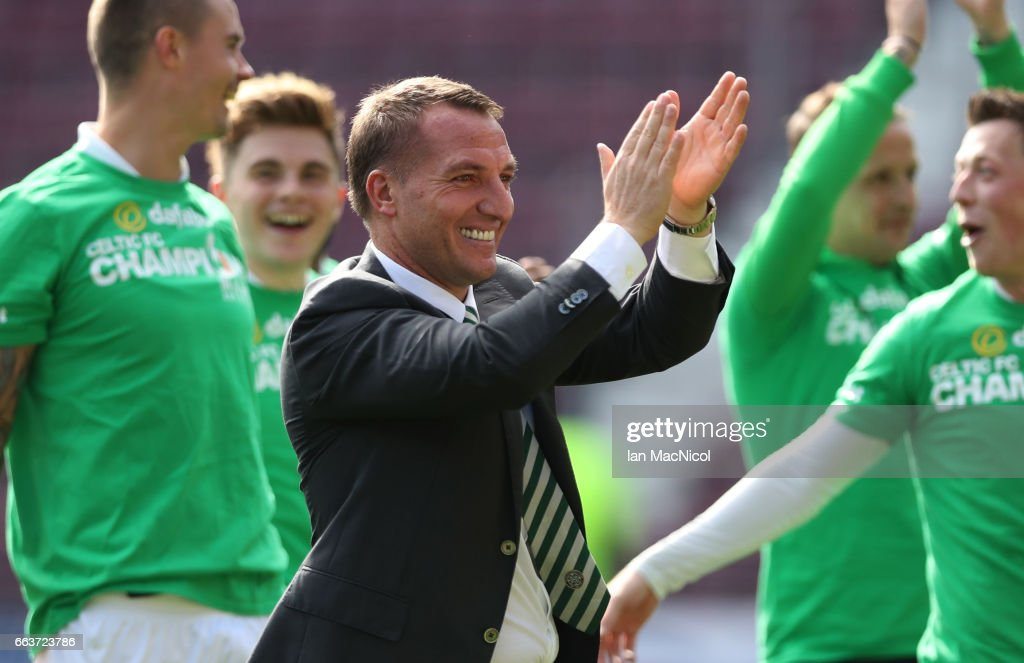 Celtic Manager Brendan Rodgers celebrates at full time during the Ladbrokes Premiership match between Hearts and Celtic at Tynecastle Stadium on April 2, 2017 in Edinburgh, Scotland.