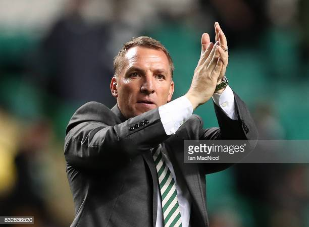 Celtic manager Brendan Rodgers celebrates at full time during the UEFA Champions League Qualifying PlayOffs Round First Leg match between Celtic FC...