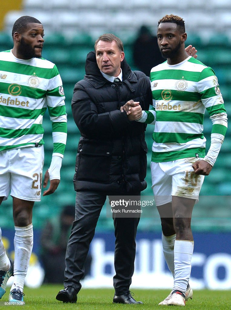 Celtic manager Brendan Rodgers congratulates goal scorer Moussa Dembele at the final whistle after his two goals during the Scottish Cup Quarter Final match between Celtic and Greenock Morton at Celtic Park on March 3, 2018 in Glasgow, Scotland.