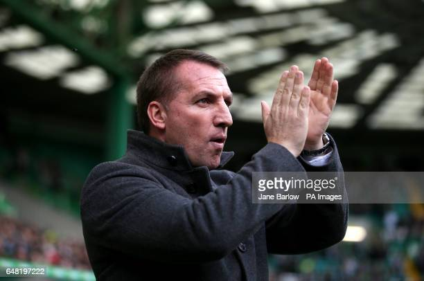 Celtic manager Brendan Rodgers during the Ladbrokes Scottish Premiership match at Celtic Park Glasgow