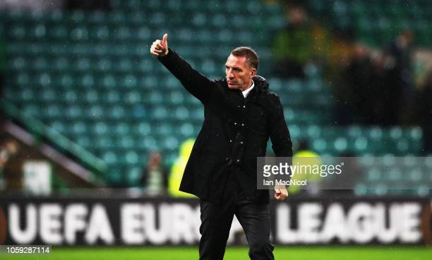 Celtic manager Brendan Rodgers gestures during the UEFA Europa League Group B match between Celtic and RB Leipzig at Celtic Park on November 8 2018...
