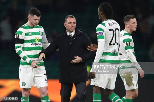 Celtic manager Brendan Rodgers is seen at full time during the UEFA Europa League Round of 32 First Leg match between Celtic and Valencia at Celtic...