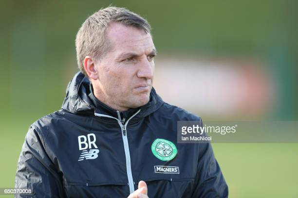 Celtic Manager Brendan Rodgers is seen during a Celtic training session at Lennoxtown Training Centre near Glasgow on March 9 2017 in Glasgow Scotland