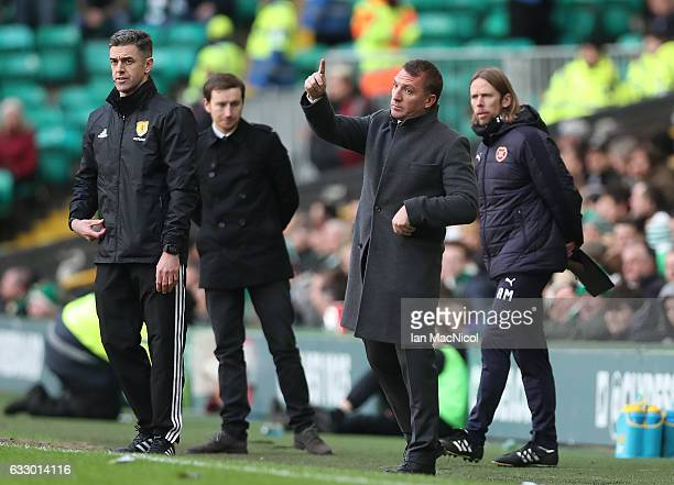 Celtic manager Brendan Rodgers is seen during the Ladbrokes Scottish Premiership match between Celtic and Heart of Midlothian at Celtic Park Stadium...