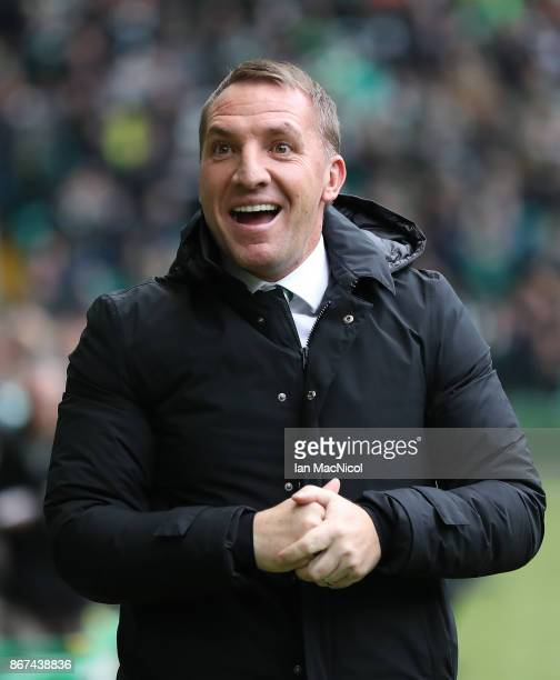 Celtic manager Brendan Rodgers is seen during the Ladbrokes Scottish Premiership match between Celtic and Kilmarnock at Celtic Park Stadium on...