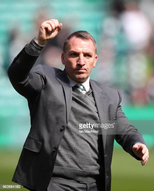 Celtic manager Brendan Rodgers is seen during the Scottish Premier League match between Celtic and Rangers at Celtic Park on April 29 2018 in Glasgow...